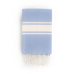 COOL-FOUTA CLASSIC Serenity Blue plain weaving with raw stripes - Fouta Hammam Towel 2x1m.