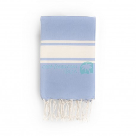 COOL-FOUTA CLASSIC Azul Serenidad Tejido liso con bandas crudo clásicas - Toalla de Hammam Fouta  2x1m.