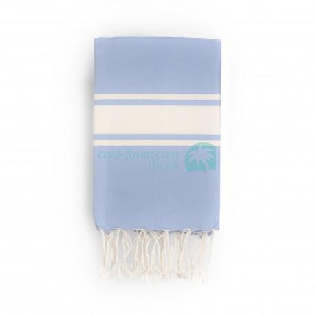 COOL-FOUTA CLASSIC Serenity Blue plain weaving with raw stripes - Fouta Hammam Towel 2x1m.