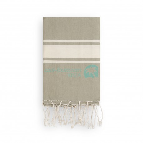 COOL-FOUTA CLASSIC Taupe plain weaving with raw stripes - Fouta Hammam Towel 2x1m.