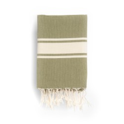 COOL-FOUTA CLASSIC Khaki Green plain weaving with raw stripes - Fouta Hammam Towel 2x1m.