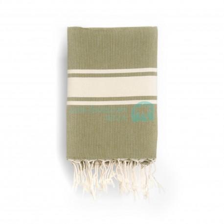 COOL-FOUTA CLASSIC Verde Kaki Tejido liso con bandas crudo clásicas - Toalla de Hammam Fouta  2x1m.