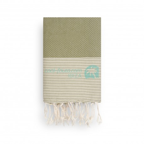COOL-FOUTA Khaki Green Honeycomb solid color with Raw cotton stripes - Hammam Towel Fouta 2x1m.