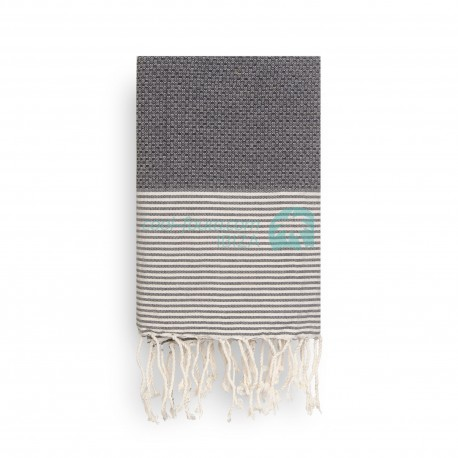 COOL-FOUTA Gray Black Honeycomb solid color with Raw cotton stripes - Hammam Towel Fouta 2x1m.