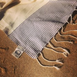 COOL-FOUTA  Natural Raw Cotton Honeycomb solid color with Ultra Violet Blue stripes or Black - Hammam Towel Fouta 2x1m.