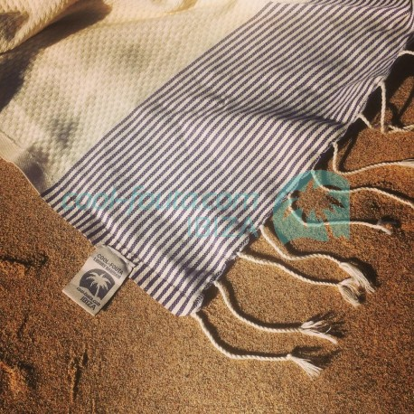 COOL-FOUTA Natural Raw Cotton Honeycomb solid color with stripes - Hammam Towel Fouta 2x1m.