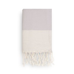 COOL-FOUTA Pearl Gray Honeycomb solid color with Raw cotton stripes - Hammam Towel Fouta 2x1m.