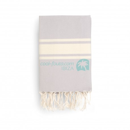 COOL-FOUTA CLASSIC Pearl Gray plain weaving with raw stripes - Fouta Hammam Towel 2x1m.
