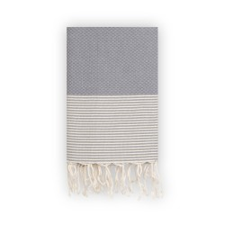 COOL-FOUTA Stormy Gray Honeycomb solid color with Raw cotton stripes - Hammam Towel Fouta 2x1m.