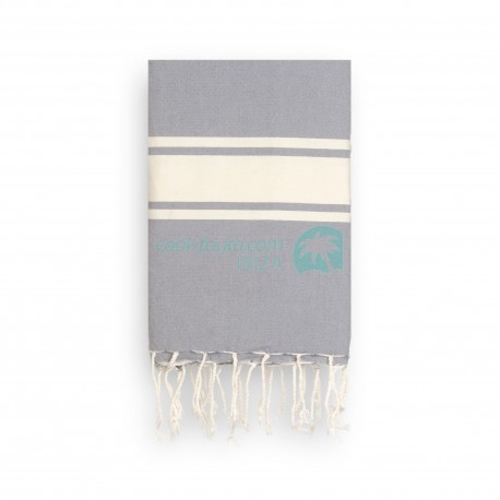COOL-FOUTA CLASSIC Stormy Gray plain weaving with raw stripes - Fouta Hammam Towel 2x1m.