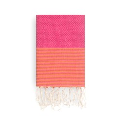 COOL-FOUTA Honeycomb Pink Yarrow Fuchsia solid color with Mandarin Orange stripes - Hammam Towel Fouta 2x1m.