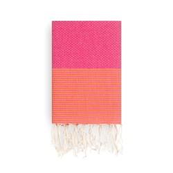 COOL-FOUTA Panal de abeja color liso Fucsia Pink Yarrow con rayas Naranja Mandarina - Toalla de Hammam Fouta 2x1m.