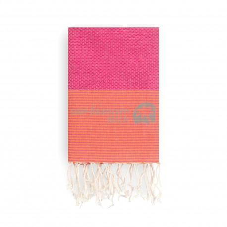 COOL-FOUTA Panal de abeja color liso Fucsia Pink Yarrow con rayas Rojo Granadina - Toalla de Hammam Fouta 2x1m.
