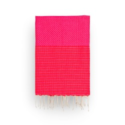 COOL-FOUTA Honeycomb Pink Yarrow Fuchsia solid color with Grenadine Red stripes - Hammam Towel Fouta 2x1m.