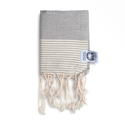 COOL-FOUTA MINI Gray Violet with Raw stripes Honeycomb Hammam Fouta Towel size 70x50cm.