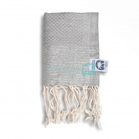 COOL-FOUTA MINI Gray Violet with Silver Lurex stripes Honeycomb Hammam Fouta Towel size 70x50cm.