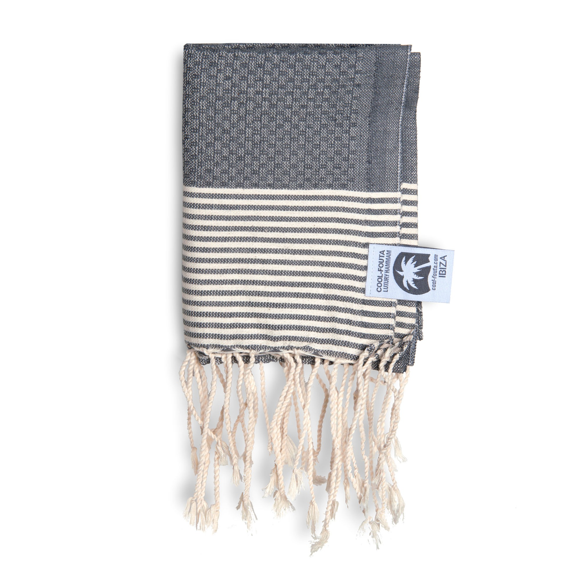 Fouta Call It.Cool Fouta Mini Monument Gray With Raw Cotton Stripes Honeycomb Fouta Towel