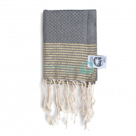 COOL-FOUTA MINI Monument Gray with Golden Lurex stripes Honeycomb Hammam Fouta Towel size 70x50cm.