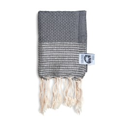 COOL-FOUTA MINI Monument Gray with Silver Lurex stripes Honeycomb Hammam Fouta Towel size 70x50cm.