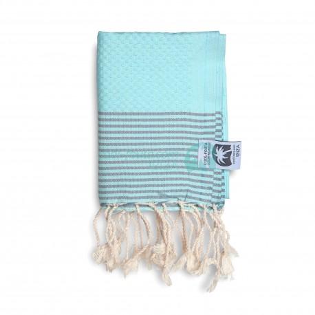 COOL-FOUTA MINI Tiffany's Blue Sal de Ibiza with Neutral Gray stripes Honeycomb Hammam Fouta Towel size 70x50cm.