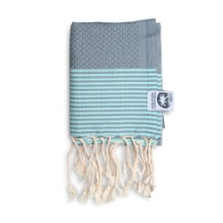 COOL-FOUTA MINI Tiffany's Blue Sal de Ibiza with Neutral Gray stripes Honeycomb Hammam Fouta Towel size 70x50cm.