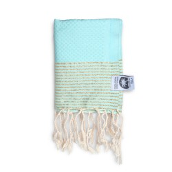 COOL-FOUTA MINI Tiffany's Blue Sal de Ibiza with Golden Lurex stripes Honeycomb Hammam Fouta Towel size 70x50cm.