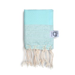 COOL-FOUTA MINI Tiffany's Blue Sal de Ibiza with Silver Lurex stripes Honeycomb Hammam Fouta Towel size 70x50cm.