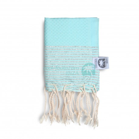 COOL-FOUTA MINI Tiffany's Blue Sal de Ibiza with Silver Lurex stripes Honeycomb Hammam Fouta Towel size 70x50cm.