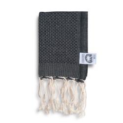 COOL-FOUTA MINI Black solid color Honeycomb Hammam Fouta Towel size 70x50cm.