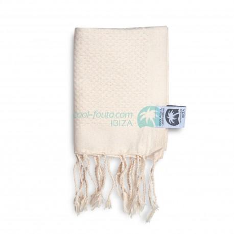 COOL-FOUTA MINI Natural Raw Cotton solid color no stripes Honeycomb Hammam Fouta Towel size 70x50cm.