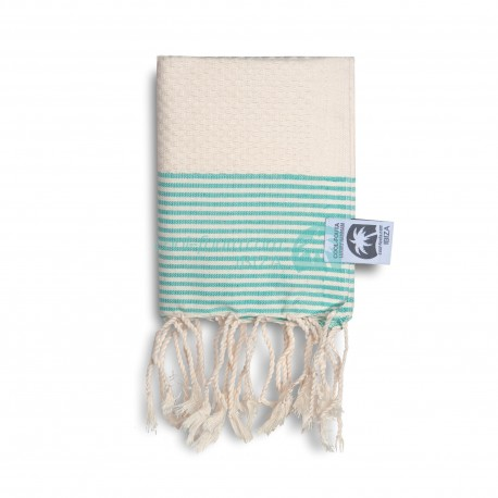 COOL-FOUTA MINI Natural Raw cotton with Emerald Green stripes Honeycomb Hammam Fouta Towel size 70x50cm.