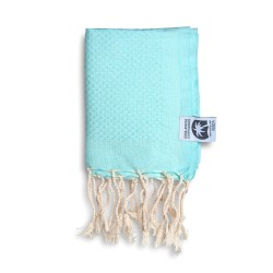 COOL-FOUTA MINI Tiffany's Blue Sal de Ibiza solid color no stripes Honeycomb Hammam Fouta Towel size 70x50cm.