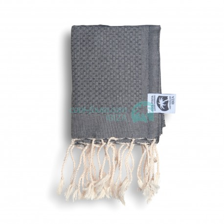 COOL-FOUTA MINI Monument Gray solid color no stripes Honeycomb Hammam Fouta Towel size 70x50cm.
