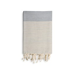 COOL-FOUTA Honeycomb Gray Violet solid color with Raw cotton stripes - Hammam Towel Fouta 2x1m.