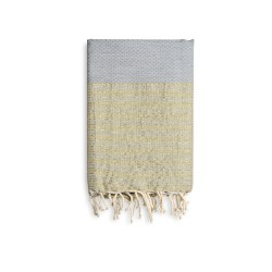 COOL-FOUTA Honeycomb Gray Violet solid color with Golden Lurex stripes - Hammam Towel Fouta 2x1m.