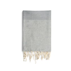 COOL-FOUTA Honeycomb Gray Violet solid color with Silver Lurex stripes - Hammam Towel Fouta 2x1m.
