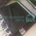 Fouta XXL color Negro modelo clásico con bandas Algodón Crudo Natural  en tejido liso