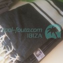 XXL Classic Fouta plain solid Black with Natural Raw cotton stripes