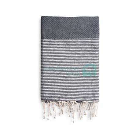 COOL-FOUTA Honeycomb Gray Monument solid color with Silver Lurex stripes - Hammam Towel Fouta 2x1m.