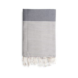 COOL-FOUTA Honeycomb Gray Monument solid color with Raw cotton stripes - Hammam Towel Fouta 2x1m.
