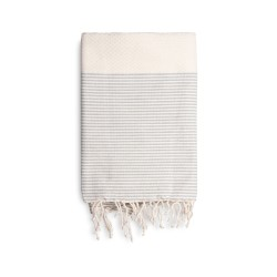 COOL-FOUTA Honeycomb Natural Raw cotton solid color with Gray Violet stripes - Hammam Towel Fouta 2x1m.