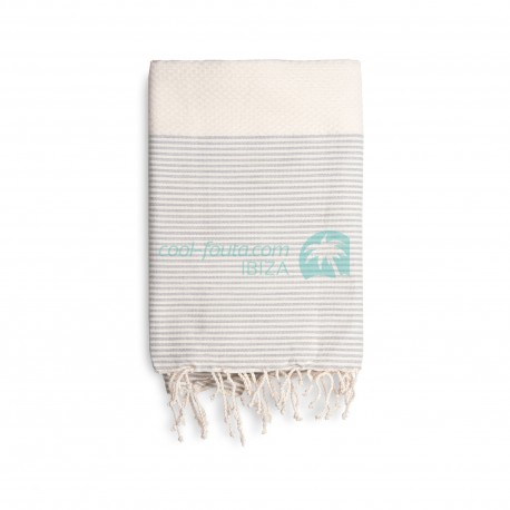 COOL-FOUTA Honeycomb Raw cotton solid color with Gray Violet stripes - Hammam Towel Fouta 2x1m.
