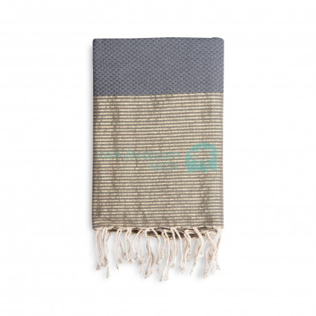 COOL-FOUTA Honeycomb Gray Monument solid color with Golden Lurex stripes - Hammam Towel Fouta 2x1m.