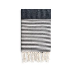 COOL-FOUTA Honeycomb Black solid color with Raw stripes - Hammam Towel Fouta 2x1m.