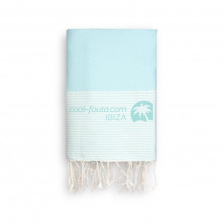 COOL-FOUTA Honeycomb Sal de Ibiza solid color with raw cotton stripes - Hammam Towel Fouta 2x1m.
