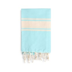 COOL-FOUTA CLASSIC Tiffany's Blue Salt of Ibiza with raw stripes -  plain weaving Hammam Towel 2x1m.