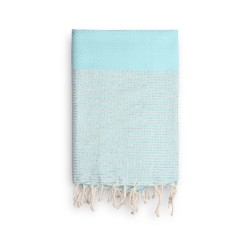 COOL-FOUTA Tiffany's Blue Salt of Ibiza with silver Lurex stripes - Honeycomb Hammam Towel 2x1m.