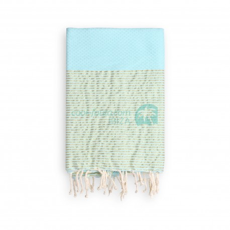 COOL-FOUTA Tiffany's Blue Salt of Ibiza with golden Lurex stripes - Honeycomb Hammam Towel 2x1m.