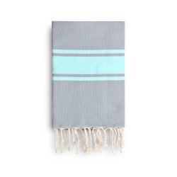COOL-FOUTA CLASSIC Neutral Gray with Tiffany's Blue Salt of Ibiza stripes -  plain weaving Hammam Towel 2x1m.