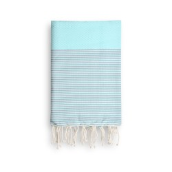 COOL-FOUTA Tiffany's Blue Salt of Ibiza with Neutral Gray stripes - Honeycomb Hammam Towel 2x1m.